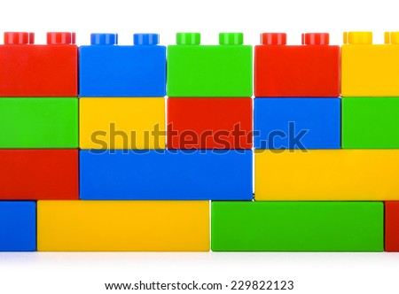 Plastic building blocks, isolated on white  - stock photo