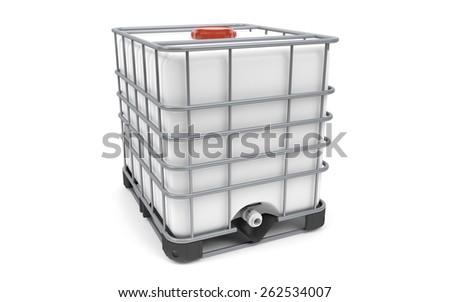 Plastic bulk with metallic cage, isolated on white background - stock photo