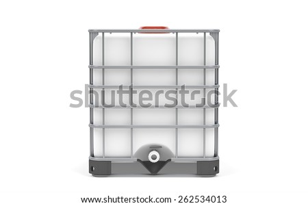 Plastic bulk with metallic cage, isolated on white background - stock photo