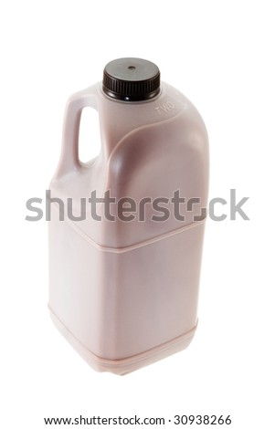 Plastic canister with chocolate milk - stock photo