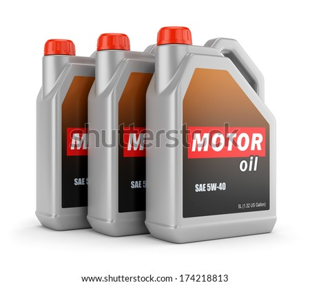 Plastic canisters of motor oil with label isolated on white background - stock photo