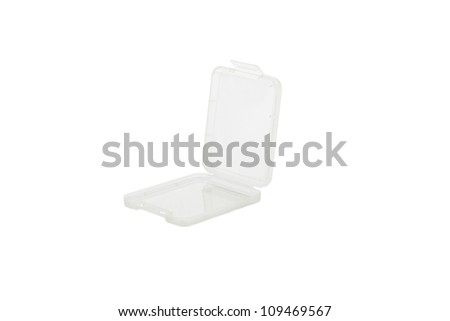 Plastic CF card case, isolated on white - stock photo
