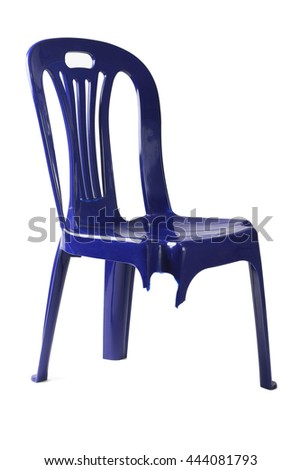 Plastic Chair with Broken Leg on White Background - stock photo