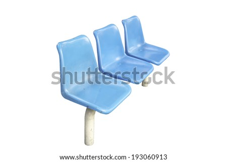 plastic chairs at the bus stop isolated on white background - stock photo