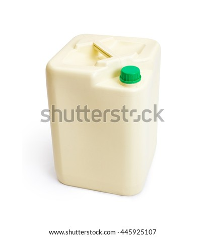 Plastic chemical gallon size container with green cap, isolated on white background with some cast shadow - stock photo
