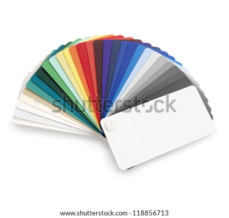 Plastic color swatch on white background. Clipping path. - stock photo