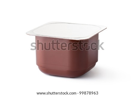 Plastic container for dairy chocolate products. Isolated on a white. - stock photo