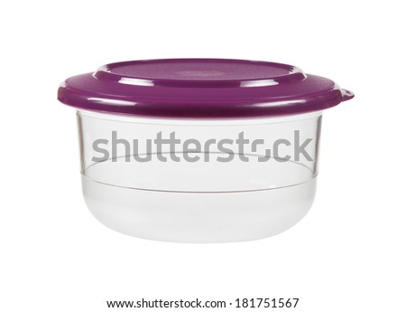 Plastic container for food isolated on white with clipping path - stock photo