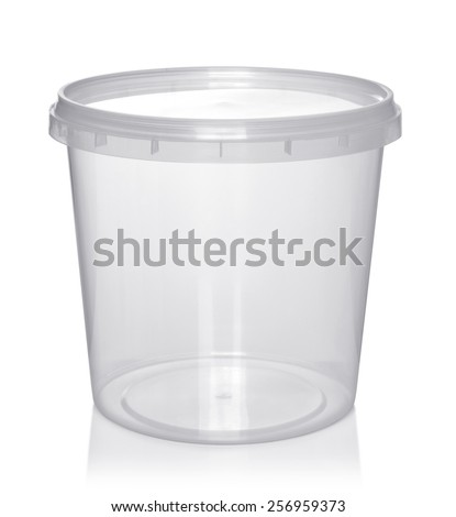 Plastic container for foodstuffs. Isolated on white background. - stock photo
