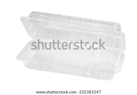 Plastic container on white background. - stock photo
