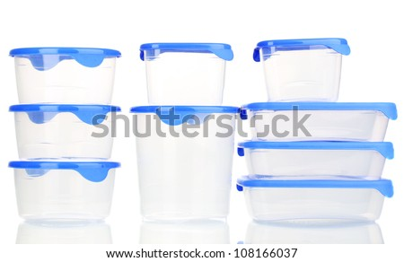 Plastic containers for food isolated on white - stock photo