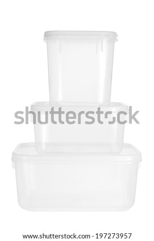 Plastic Containers on White Background - stock photo
