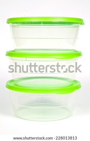 Plastic containers with tight lids for safe storage of food - stock photo