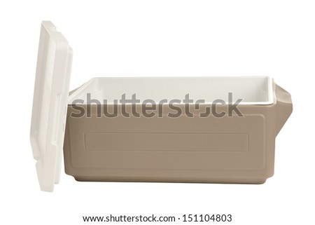 Plastic cooler with opened cover on white background - stock photo