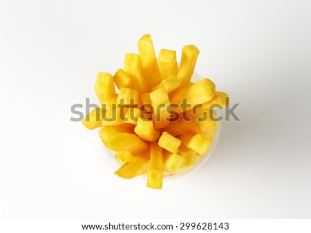 plastic cup of french fries on white background - stock photo