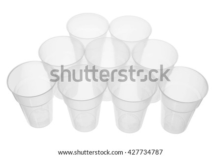 Plastic Cups on White Background - stock photo
