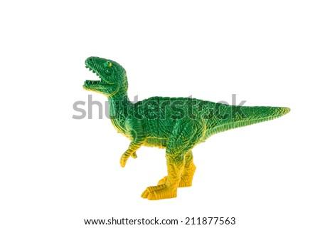 Plastic dinosaur isolated on white background, Tyrannosaurus rex - stock photo