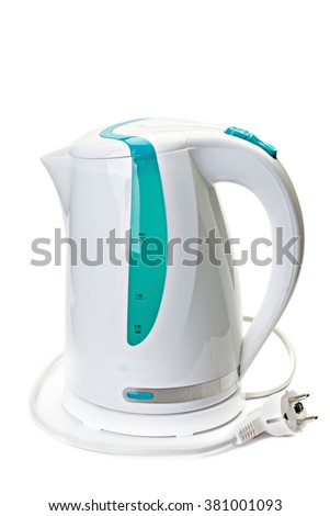 Plastic electric kettle with  electrical cord isolated on white background. - stock photo