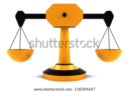 Plastic empty scales with yellow and black colors isolated on white background - stock photo