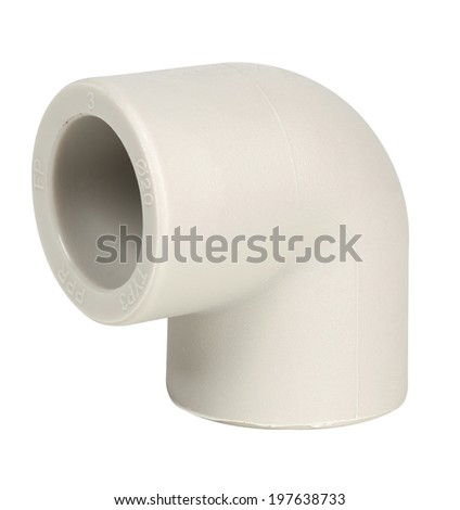 Plastic fitting elbow 90 degrees for water supply pipes, isolated on white and with clipping path included - stock photo