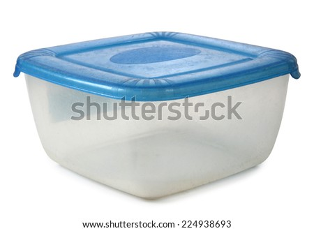 Plastic food containers on a white background - stock photo