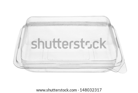 Plastic food package isolated on white background - stock photo