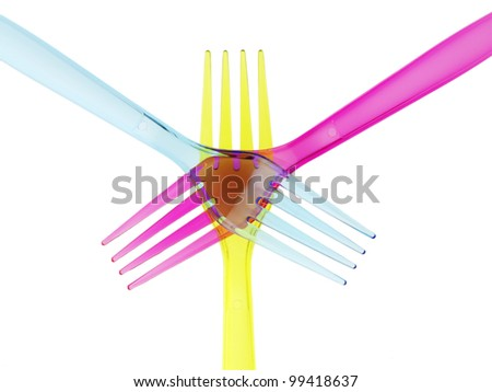 Plastic forks colors - stock photo