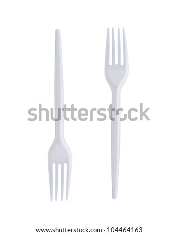 Plastic Forks on White Background - stock photo