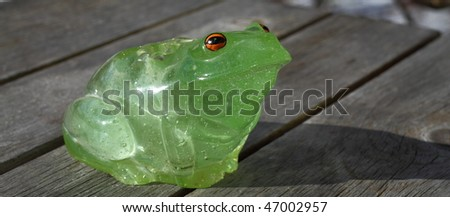 Plastic frog on a picnic table - stock photo