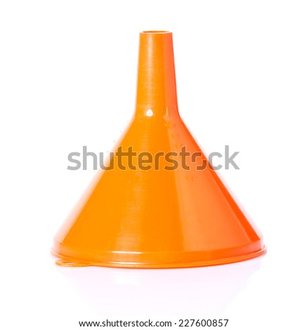 plastic funnel isolated on white - stock photo
