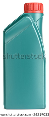 plastic gallon motor oil isolated on white background with clipping paths - stock photo