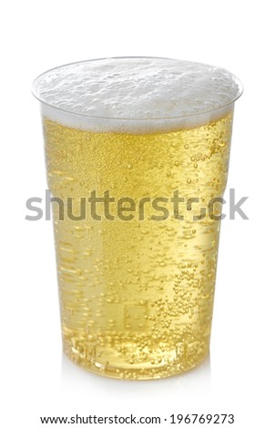 Plastic glass of cider isolated on white background - stock photo