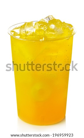 Plastic glass of orange lemonade with ice isolated on white background - stock photo