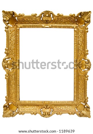 Plastic Golden Picture Frame w/ Path - stock photo