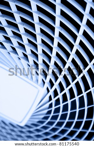Plastic grate, may be used as abstact background. Blue toned. - stock photo
