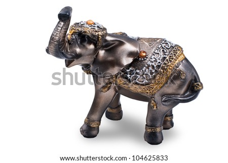 Plastic gray elephant figurine isolated on white - stock photo
