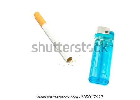plastic lighter and cigarette on white closeup - stock photo