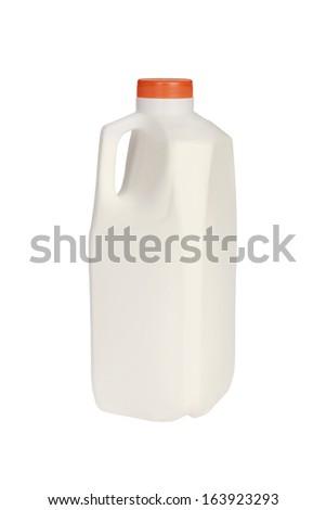 plastic milk bottle. cut out - stock photo