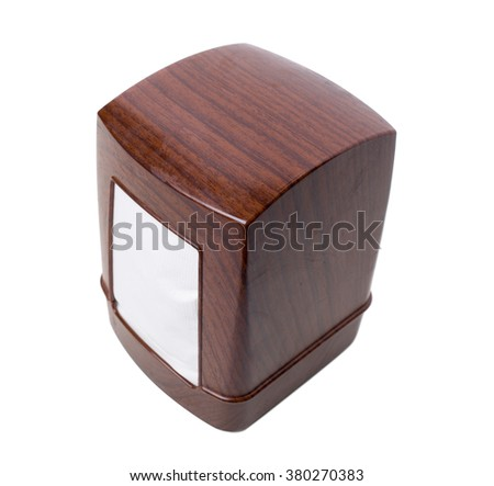 Plastic napkin holder with wooden pattern. Isolated on a white background. - stock photo