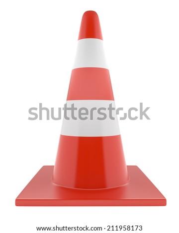 Plastic Orange Road Cone, Isolated On a White Background.  - stock photo