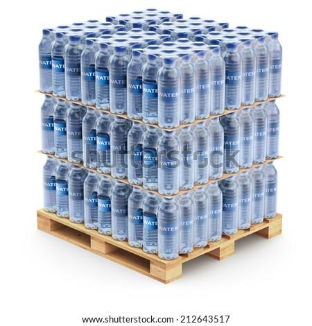 Plastic PET bottles on the pallet - stock photo