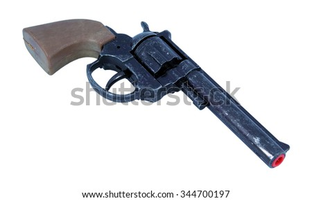 Plastic pistol toy. Kids revolver toy. - stock photo