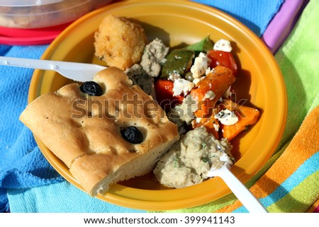 Plastic plate full of picnic food: vegetable and feta salad, baba ghanoush, rice fritter and olive bread. Selective focus. - stock photo