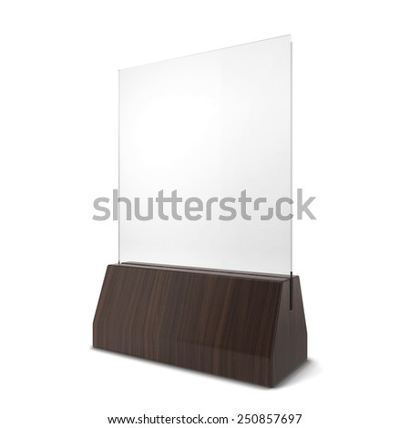 Plastic plate in wooden holder. 3d illustration isolated on white background  - stock photo