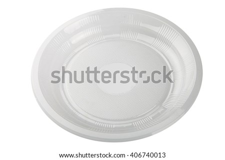 plastic plate isolated on white background  - stock photo