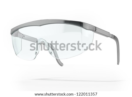 Plastic protection glasses isolated on a white background - stock photo