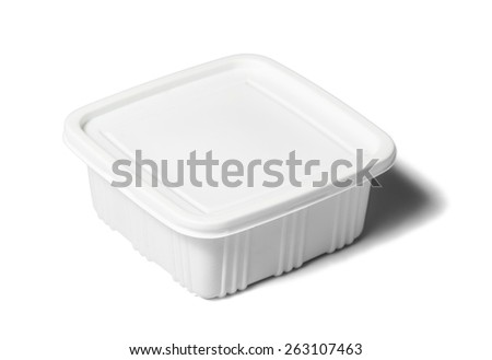 Plastic rectangular container for dairy foods. Isolated over white background with shadow - stock photo