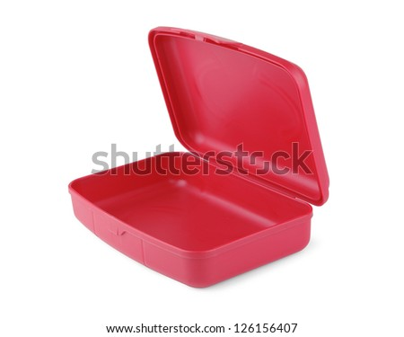 Plastic red box on a white background - stock photo