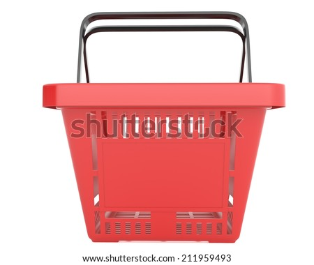 Plastic red shopping basket on white background. - stock photo
