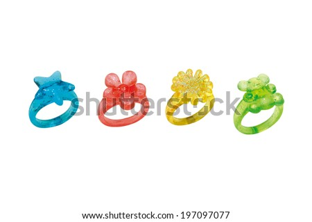 PLASTIC RINGS GIRL on white background - stock photo